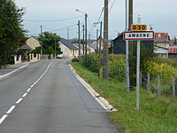 Amagne (Ardennes) city limit sign.JPG