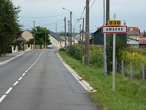 Amagne (Ardennes) city limit sign.JPG