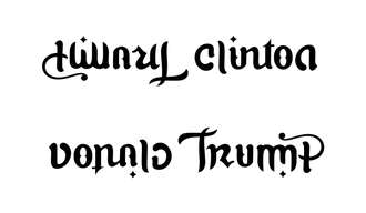 example of ambigram with two names hillary clinton donald trump