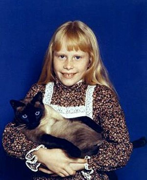 Amy Carter - Amy Carter as a child with her cat,  Misty Malarky Ying Yang.