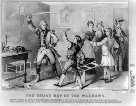 Young Jackson Refusing to Clean Major Coffin's Boots (1876 lithograph) Andrew-Jackson-disobeys-British-officer-1780.png
