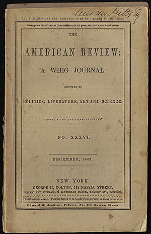 Ulalume - The cover of The American Review, December, 1847, No. 36, George H. Colton, New York.