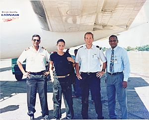 Lionair - Angelina Jolie is seen during her to visit to Jaffna after traveled by Lionair at the Jaffna Airport in April 2003.