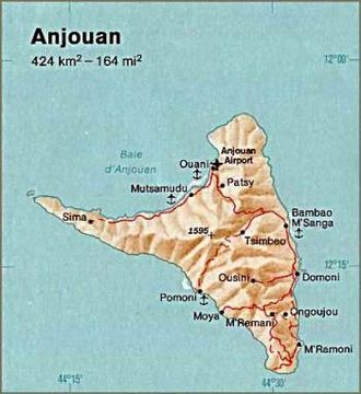 Geography of the Comoros - Map of Anjouan