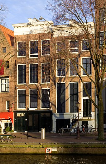 The house (left) at the Prinsengracht in Amsterdam