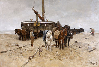 Sien (Van Gogh series) - Anton Mauve – Fishing boat on the beach, 115 x 172 cm. This was the painting Mauve was working on at the time of his dealings with Van Gogh. It was shown in May at the 1882 Salon. Gemeentemuseum, The Hague.