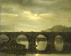 Anthonie Waldorp: View of a Bridge of the Seine in Paris by Moonlight