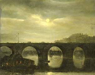 View of a Bridge of the Seine in Paris by Moonlight