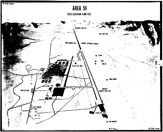 Area 51 - A 1966 Central Intelligence Agency diagram of Area 51, found in an untitled, declassified paper, showing the runway overrun for OXCART (Lockheed A-12) and the turnaround areas. (CIA / CREST RDP90b00184r000100040001-4)