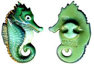 Arita, Saga - Modern Arita ware seahorse button
