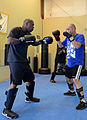 Army 1st Lt. Timothy Samms, training officer with the 191st Infantry Brigade, goes through striking drills during a Krav Maga class in Renton, Wash., Sept 120905-A-OP586-926.jpg