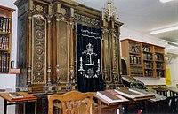 Aron Ha-kodesh with dark blue, embroidered parokhet covering