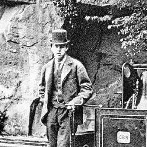 Arthur Heywood - with his first engine at Duffield Bank Railway in 1875
