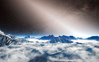 Interplanetary dust cloud - Artist concept of a view from an exoplanet, with light from an exoplanetary dust cloud