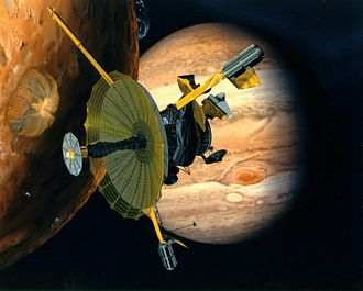Galileo (spacecraft) - Artist's concept of Galileo at Io with Jupiter in the background; the high-gain antenna is fully deployed