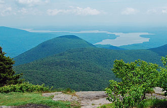Ashokan Reservoir - The reservoir seen from the summit of Wittenberg Mountain. Samuel's Point is in the foreground.