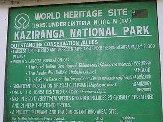 Kaziranga National Park - A board proclaiming the biological heritage of the park