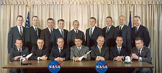 The first sixteen NASA astronauts, February 1963. Back row: White, McDivitt, Young, See, Conrad, Borman, Armstrong, Stafford, Lovell. Front row: Cooper, Grissom, Carpenter, Schirra, Glenn, Shepard, Slayton. Astronaut Groups 1 and 2 - S63-01419.jpg