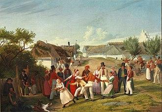 Hans Jørgen Hammer - Image: Bönderkarle og piger fra hedeegnen imellem Kjöge og Roeskilde samles til lystighed under aaben himmel en helligdags eftermiddag (1847)