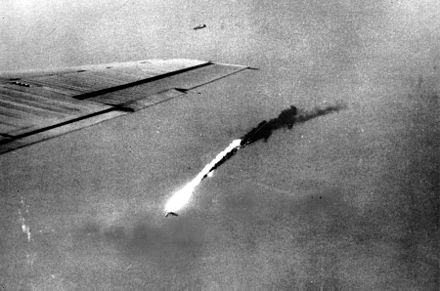 A B-29 falls in flames after a direct hit by an anti-aircraft shell over Japan B-29 shot down by flak.jpg