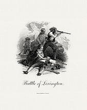 A printed engraving in black and white showing several people in 18th-century garb; one is firing a rifle. Another lies on the ground, dead or wounded; a woman tends to him.