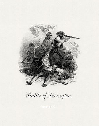 BEP engraved vignette Battle of Lexington which appeared on the $20 National Bank Note|alt=A printed engraving in black and white showing several people in 18th-century garb; one is firing a rifle. Another lies on the ground, dead or wounded; a woman tends to him. BEP-DELNOCE-Battle of Lexington (Darley).jpg