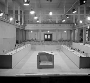 Belsen trial - Interior shot of the court room ten days before the start of the trial