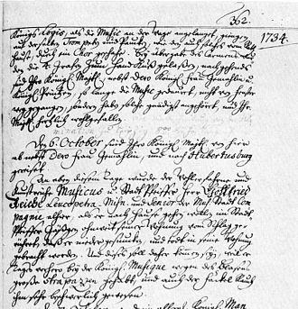 Gottfried Reiche - Chronicle of Leipzig for 5 and 6 October 1734, reporting Reiche's death
