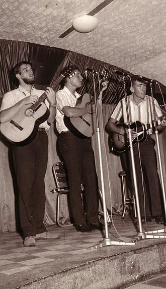 Australian folk music - Babayaga Trio (L to R) Ray Gurney, Murray Uhlmann and Frank White on a Gold Coast, Queensland Tour 1964