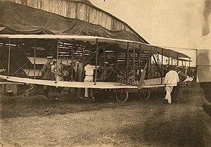 Canadian Aerodrome Baddeck No. 1 and No. 2 - The Baddeck No. 1 in front of a hangar
