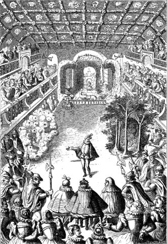 Timeline of ballet - Engraving of the first scene of the Ballet Comique de la Reine, 1581.
