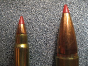 Spitzer (bullet) - 21st century plastic tipped bullets. Ballistic Tips: Hornady 17 gr. V-Max 17HMR, .308 Winchester Unknown Manufacturer Plastic tipped bullets are a type of rifle bullet meant to confer the aerodynamic advantage of the spitzer bullet (for example, see very-low-drag bullet) and the stopping power of a hollow point bullet.