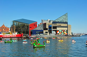 National Aquarium (Baltimore) - The National Aquarium (angular original building with glass pyramid top of 1981, rear right, and 2005 north extension to its left) lies near two of four historic museum / exhibit ships of the Baltimore Maritime Museum on Piers 3 and 4 in the Inner Harbor area of Baltimore, including World War II submarine USS Torsk and Lightship Chesapeake.