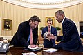 Barack Obama in the Oval Office with speech writers 19 November 2014 P111914PS-0791 (16786940752).jpg