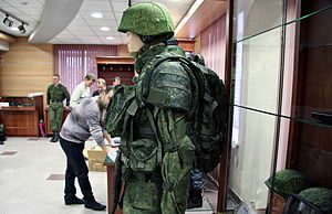 "Russian Ground Forces - New Russian Ratnik (ex.""Barmitsa"") suit on display at a presentation in 2011."