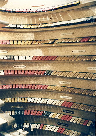 Bartola Musical Instrument Company - Detail of console of Barton organ originally installed in the Chicago Stadium, Chicago, Illinois, showing the massive quantity of stopkeys on the right side of console.