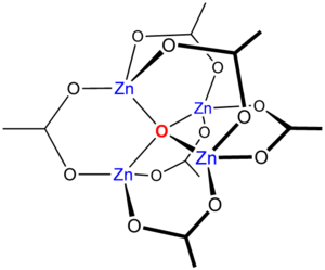 Metal–organic framework - SBU's are often derived from basic zinc acetate structure, the acetates being replaced by rigid di- and tricarboxylates.