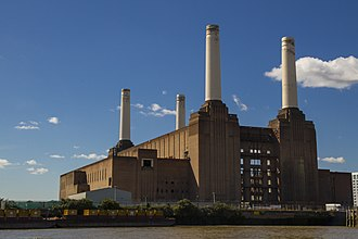 Battersea Power Station - Battersea Power Station Viewed from the north bank of the Thames in August 2012