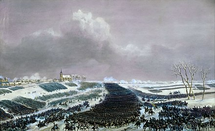 The French cavalry charges the Russian line at Eylau, depicted by Siméon Fort