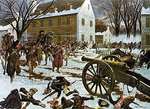175th Infantry Regiment (United States) - Remants of Smallwood's Regiment crossed the Delaware with General Washington to capture the Hessian force at Trenton on the morning of 26 December 1776.  Painting by H. Charles McBarron, Jr., 1975.