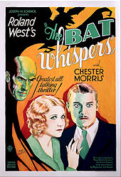 Color movie poster for The Bat Whispers. A blond man and woman stare ahead; a bald man scowls at them from above. The shadow of a bat surrounds them on the upper left.