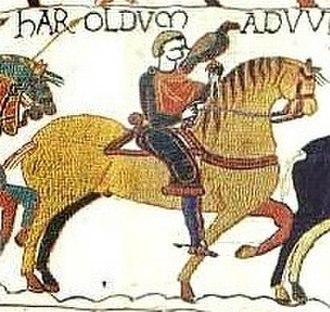 Harold Godwinson - Image: Bayeux Tapestry Scene 13(crop 2)