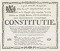 Begrafenisbriefje voor de Constitutie, 1797 's Graven-hagen Heden den 24sten Augustus, Ao 1797. Werd ons de Heugelyke tyding aangebragt, dat in den Ouderdom van XVIII Maanden Overleeden is Het Monstreuze Voorwerp Consti, RP-P-OB-86.634.jpg