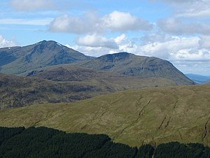 Beinn Chùirn - Beinn Chùirn (centre) with the higher Ben Lui (left) seen from the high ground to the NE.