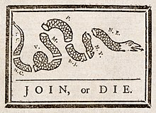 "Cartoon of a snake severed in eight pieces, each piece labeled with the initials of an American colony.  The caption reads, ""Join, or Die""."