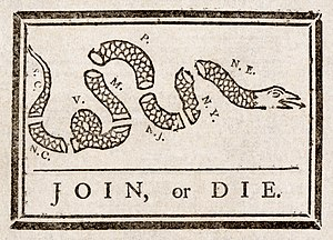 "Gadsden flag - Benjamin Franklin's ""Join, or Die"" cartoon"