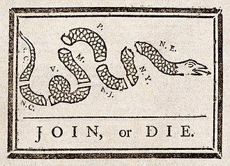 Thirteen Colonies - Join, or Die by Benjamin Franklin was recycled to encourage the former colonies to unite against British rule.