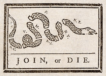 Join, or Die: This 1756 political cartoon by Benjamin Franklin urged the colonies to join together during the French and Indian War. Benjamin Franklin - Join or Die.jpg