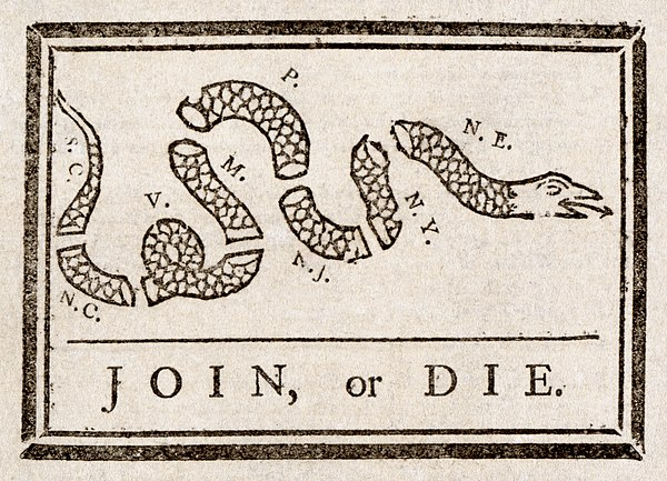 Join, or Die by Benjamin Franklin, published in The Pennsylvania Gazette was the first political cartoon in America[3]