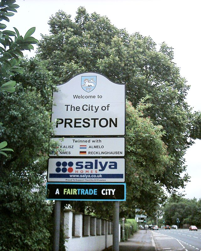 Welcome to Preston sign on the A6